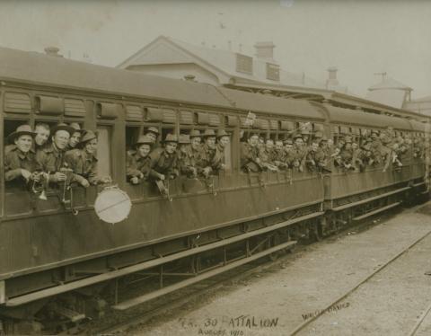 30th Battalion in a train at Kiama train station
