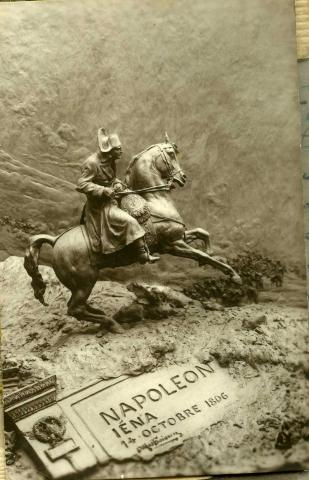 Sepia picture depicting Napoleon on horseback.