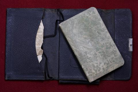 Picture of the diary in a fabric case.