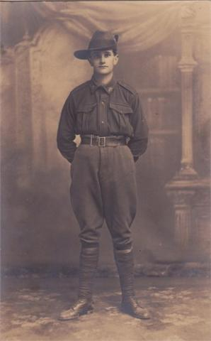 Sepia full-body portrait of Ernest Donald Gow