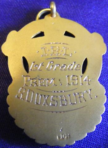 Football medal reverse inscribed IRL 1st grade premiers S DUXSBURY