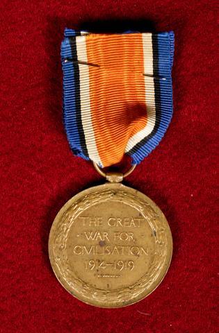 War medal of Patrick Gavin. Inscription reads: The Great War for Civilisation 1914 - 1919.