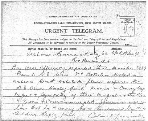 Image depicts a scan of the telegram.