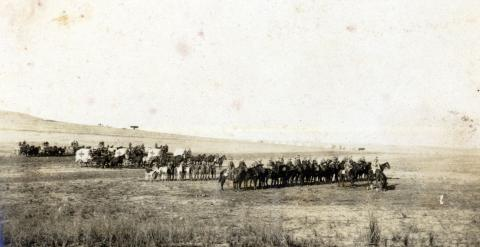 Sepia photograph of horses on parade.
