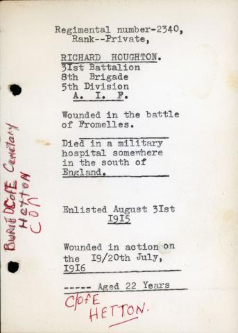 Scan of written reminisces outlining enlistment date and date of injury.