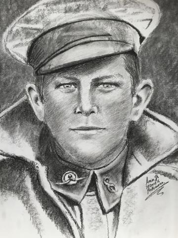 Drawing commissioned by Dan Meehan in 2016. We had no surviving picture of Hugh in uniform - created from a picture of Hugh before the war