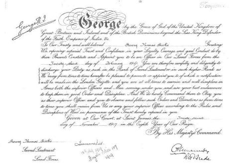 Harry Hicks Officer Commissioning Document from King George V
