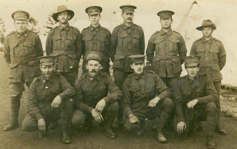 Sepia portrait of soldiers in uniform featuring William Scott Jardine