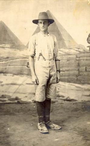 Full length sepia portrait of Oswald Meyer