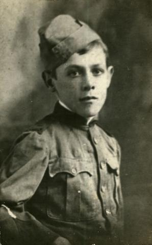 Black and white photo of William Duchesne as a school cadet