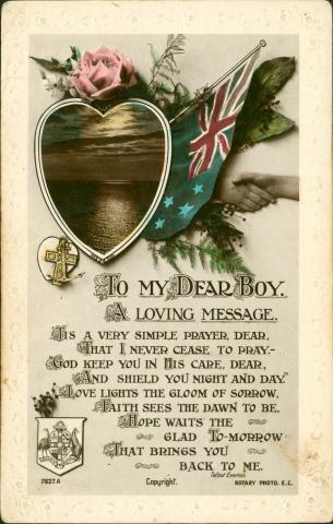 Front of postcard with a poem.