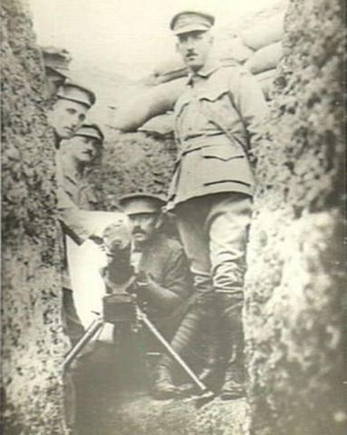 Sepia photograph of three soldiers in uniform in Gallipolli