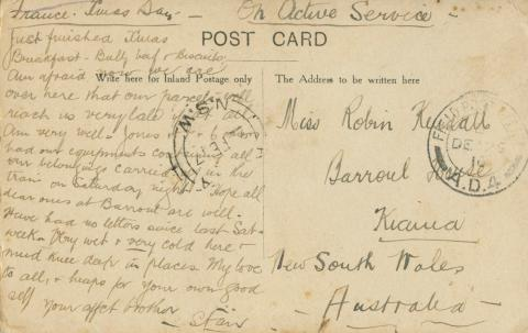 Postcard written to Stanley's sister, dated Christmas Day