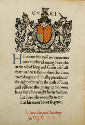 Picture of the front of the royal scroll