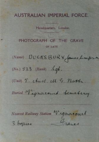 Lists rank as Sgt Unit 5 Aust MG Battn Buried Vignacourt Cemetery