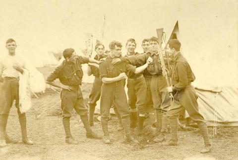 Sepia photograph of soldiers.
