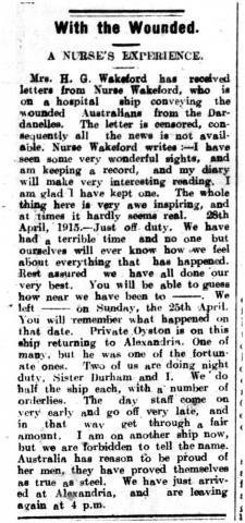 Scan of a newspaper clipping from the Illawarra Mercury about correspondence from Muriel Wakeford.