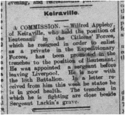 Scan of a newspaper clipping of Appleby getting his promotion.