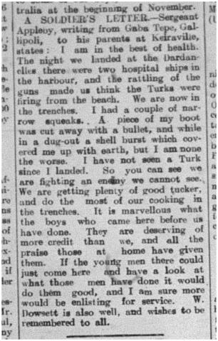 Scan of newspaper clipping of A Soldier's Letter