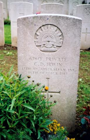 Inscription reads: 6760 Private C.D. Irwin, 19th BN Australian INE 16th October 1917.