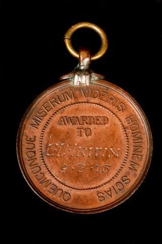 Image depicts bronze-coloured surf life saving medal.
