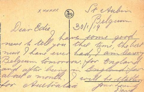 Scan of the postcard, dated 30/1/19, from Belgium.