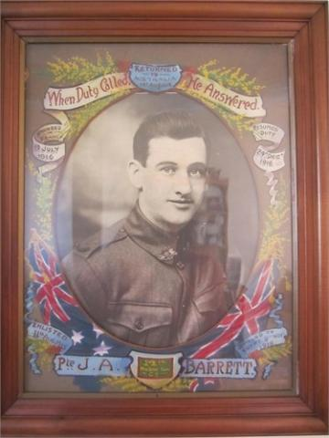 Portrait of John Barrett with inscription 'When Duty Called He Answered'