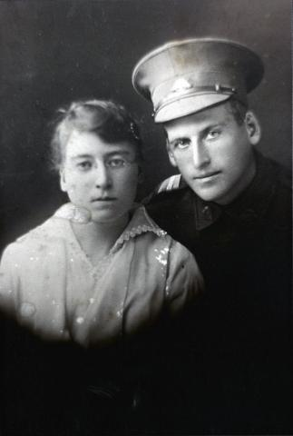 Black and white portrait of Robert Best and May Best.