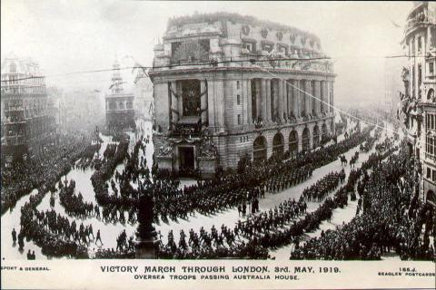 Front of postcard of Victory March through London