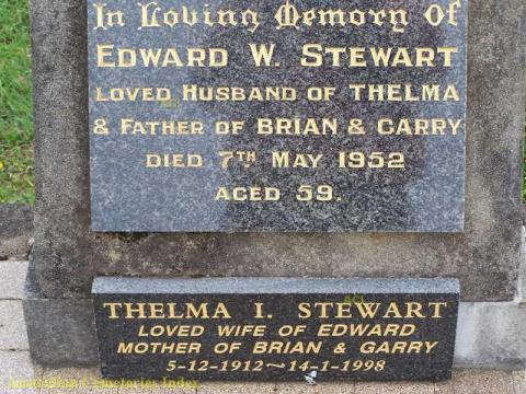 Grave of Edward Stewart and wife Thelma.