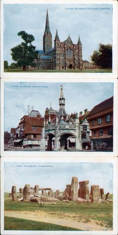 Three postcards each depicting Salisbury Cathedral and Stonehenge.