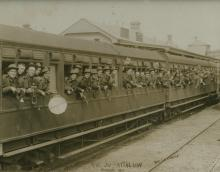 30th Battalion in a train at Kiama train station
