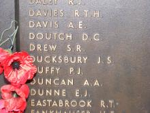 Image of James Simpson Ducksbury's name at war memorial