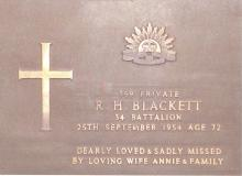 Memorial plaque from R.H. Blackett 34 Battallion, 25th September 1954 age 72. Dearly loved and sadly missed by loving wife Annie and family.