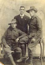 Sepia photograph of Will and Jack Dungey and Jack Clarkson