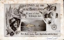 "Postcard reads: ""Greetings to the dear homeland. A word of cheer to someone dear. For auld lang syne Australia will be there."" Dated 1919, from Egypt"