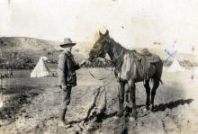 Black and white photograph of Thomas Kennedy Irwin Jr with horse