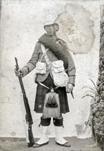 Black and white full length portrait of John Richardson in uniform.