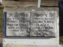 Grave of Sidney Lacey and wife Selena.