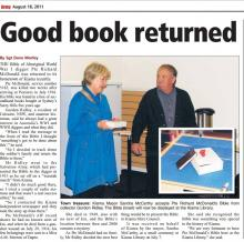 Scan of newspaper clipping titled 'Good book returned'.