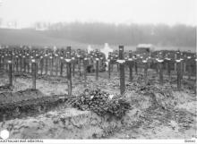 Black and white photograph of grave markers.
