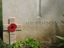 Headstone of Richard McDonald, inscription reads: My Friend