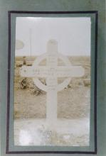 Photograph of original grave marker cross in France