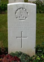 Headstone Vignacourt British Cemetery France - Inscription  reads 523 PTE J. S. Ducksbury Australian Machine Gun Corps 30th April 1918. Verse reads though lost to sight thy memory is dear