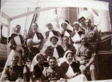 Sepia group photograph of nurses.