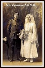 Sepia photograph of David and Edith in wedding attire.