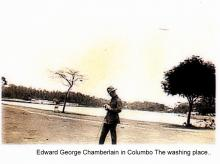 Sepia photograph of Edward George Chamberlain in Columbo, the washing place