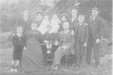 Faded black and white portrait of Morrison family