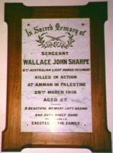 Photograph of Memorial for Wallace John Sharpe.