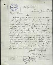 Image depicts a scan of letter.